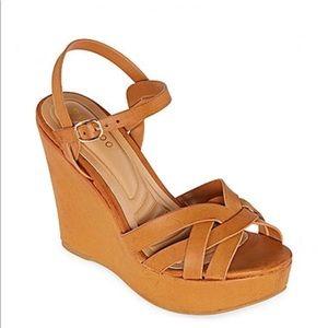 Tan Platform Wedge Sandals